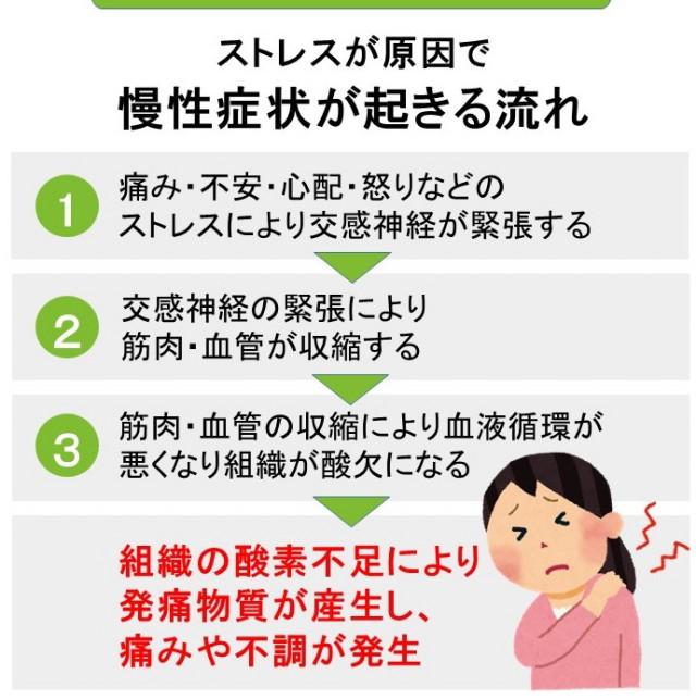 慢性症状がストレスが原因で不調が起こる流れ
